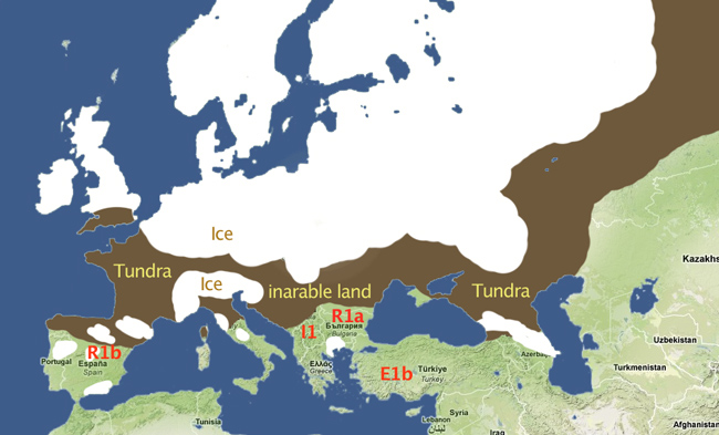 The tundra, south of the ice, was inarable, so mankind was forced further south into 3 basic refugia